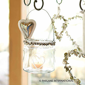 Glass Heart Tealight Holder With Bells - outdoor lights & lanterns