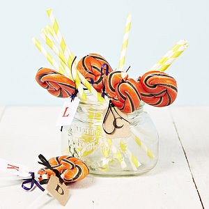 Personalised Swirly Orange Lollipop - table decorations