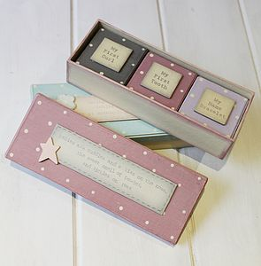 Set Of Three Pink 'Baby's First' Box