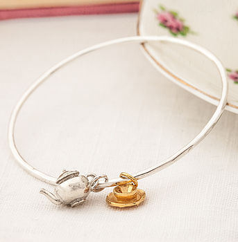 Skinny Silver And Gold Teaset Bangle