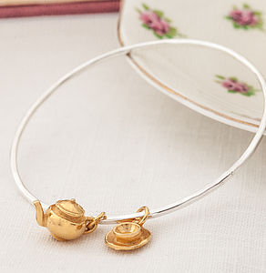 Skinny Gold Teaset Bangle - bracelets & bangles