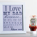 'I Love You Because' Typography Print