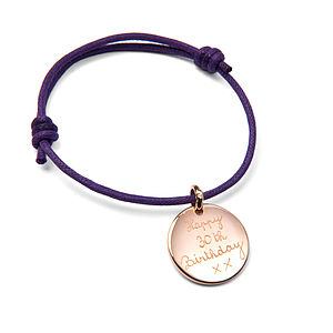 Personalised Disc Friendship Bracelet - message tokens