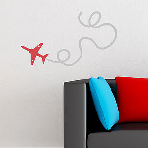 Red Arrow Plane Wall Sticker