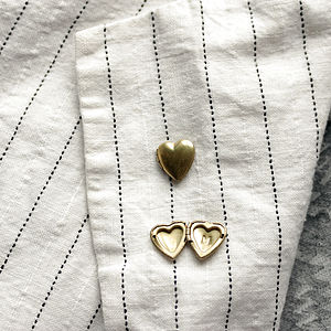 Personalised Stamped Brass Locket Heart Pin - jewellery
