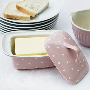 Pink Ceramic Polka Dot Butter Dish - tableware