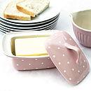 Pink Polka Dot Butter Dish
