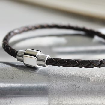 Men's Leather Plaited Bracelet