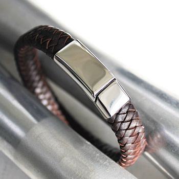 Men's Plaited Bolo Leather Bracelet