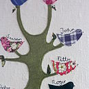 detail family tree on off white linen