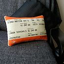 50% Off! Greenwich Train Ticket Cushion