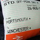 'Personalised Journey' Train Ticket Cushion