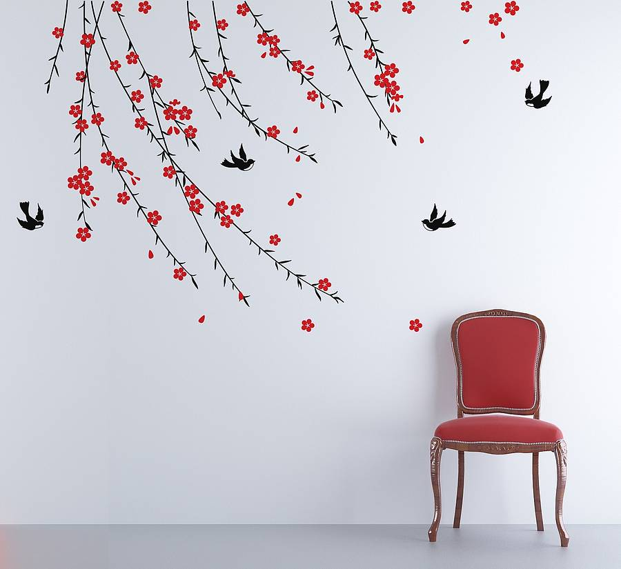 trailing blossom wall sticker by zazous. Black Bedroom Furniture Sets. Home Design Ideas