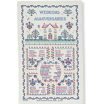 Wedding Sampler Linen Tea Towel