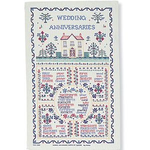 Wedding Sampler Linen Tea Towel - kitchen