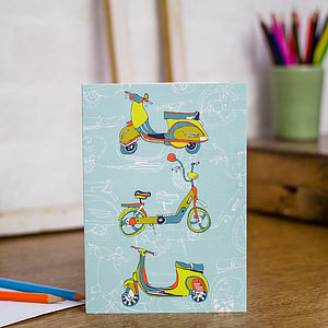 Scootering Around Town Blank Greetings Card