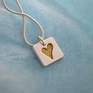 Personalised Gold Heart Tile Necklace