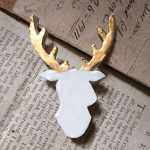 Gold Lustre Porcelain Stag Brooch - pins & brooches
