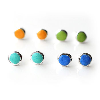 Spring Palette Enamel Silver Stud Earrings