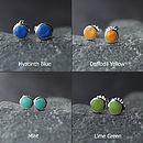 Spring Palette Enamel Silver Stud Earrings
