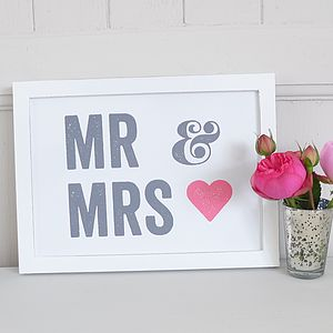 'Mr And Mrs' Framed Picture