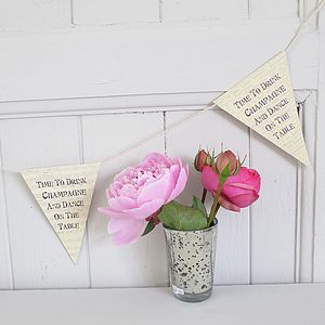 'Time To Drink Champagne' Printed Bunting - outdoor decorations