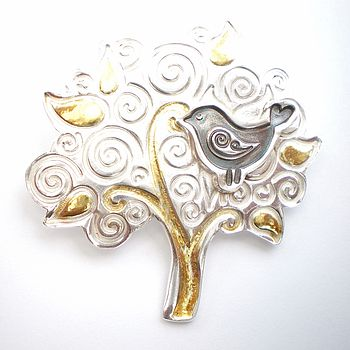 Folklore Silver And Gold Bird In Tree Brooch