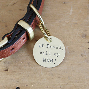 'If Found…' Brass Dog ID Tag - walking