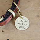 1 1/4 inch tag - 'If found, call my MUM!'