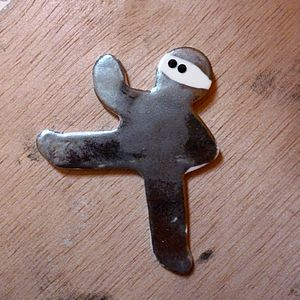 Ceramic Ninjabread Man Kick Brooch - women's jewellery