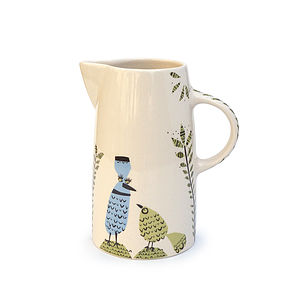 Birdlife Tall Ceramic Jug - crockery & chinaware