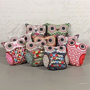 Vintage Inspired Mini Owl Cushion - bedroom