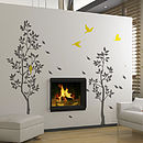 Grey Trees With Falling Leaves Wall Stickers