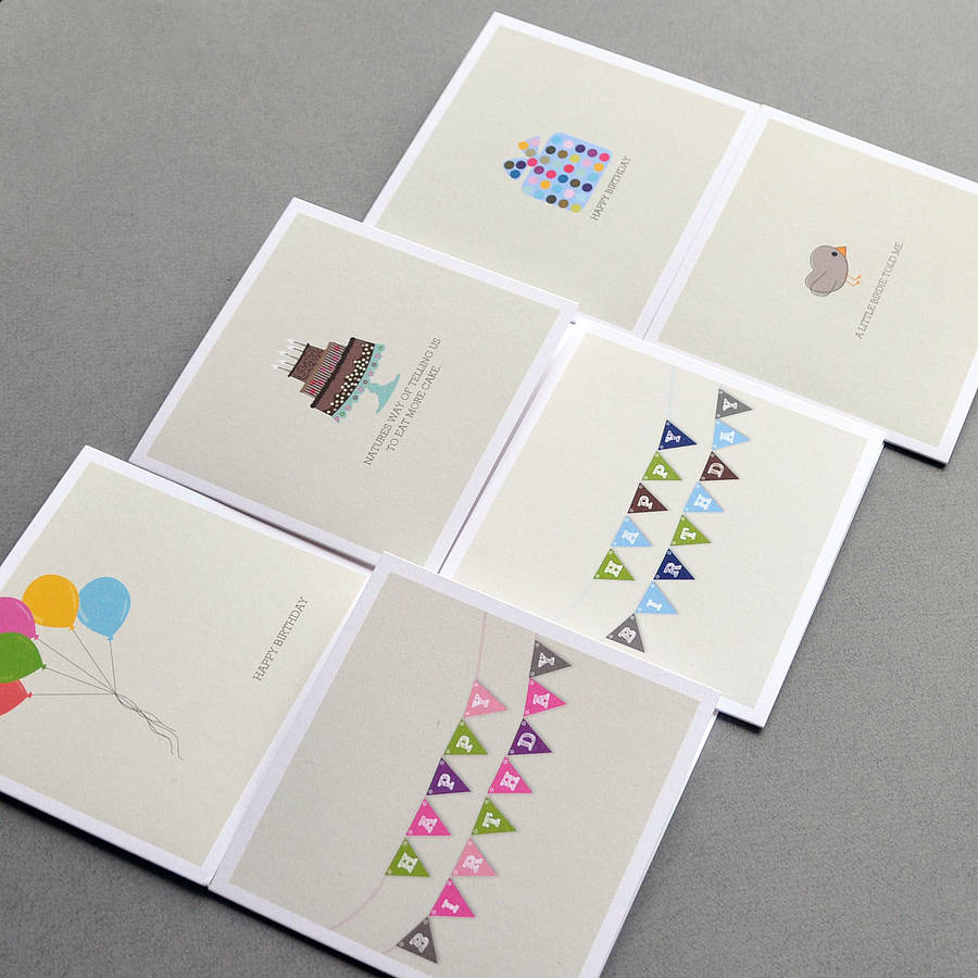 pack of four mix and match birthday cards by bold bunny – Packs of Birthday Cards