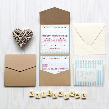 Pocketfold Wedding Invitation Heart Funfair
