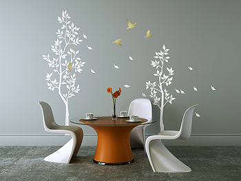 Trees With Falling Leaves Wall Sticker