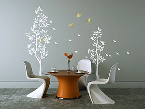 White Trees With Falling Leaves Wall Sticker - decorative accessories