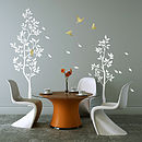 White Trees With Falling Leaves Wall Sticker