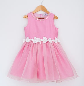 Girl's Twisted Bow Dress With Pearl Neckline