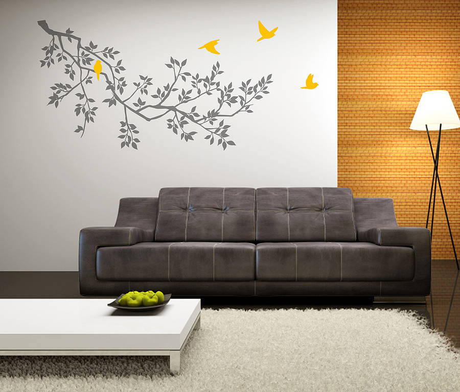 Wall Art Stickers Dunelm : Wall stickers spring branches grey by zazous