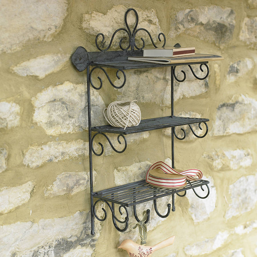 Iron Three Shelf Rack With Hooks By Dibor
