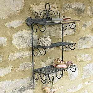 Iron Three Shelf Rack With Hooks - furniture