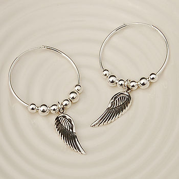 Hoop Angel Wing Earrings