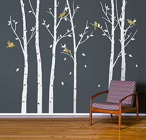 Urban Forest White Wall Stickers - bedroom
