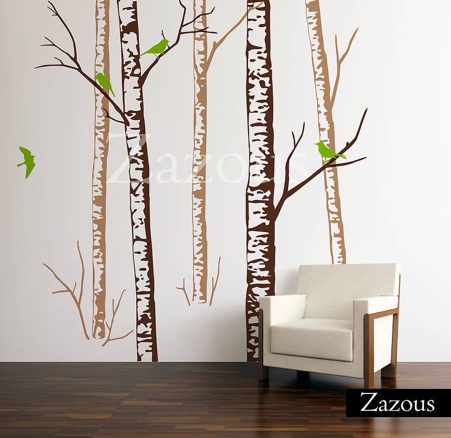 birch forest brown wall stickers by zazous achica living design amp lifestyle magazine chalkboard