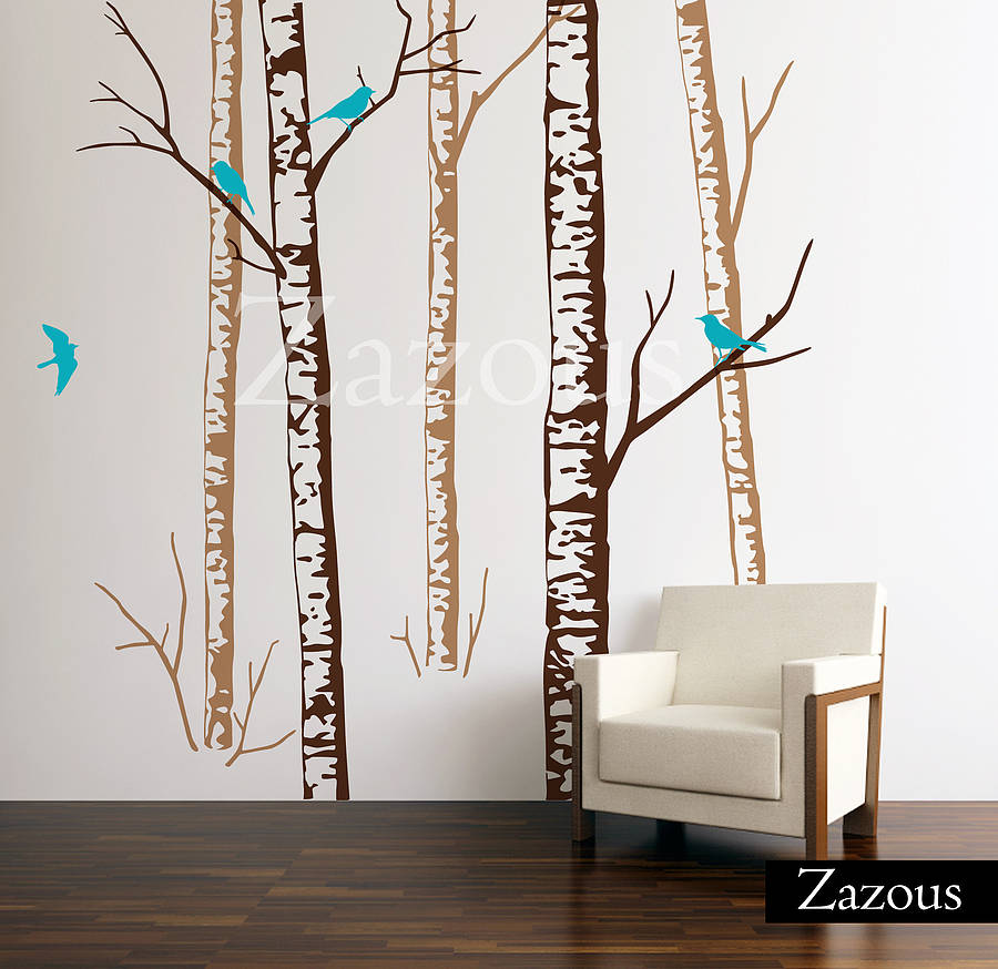 birch forest brown wall stickers by zazous forest deer tree wall sticker qo82 78 00 wall