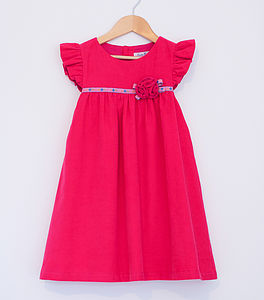 Rosette Cord Pinafore Dress