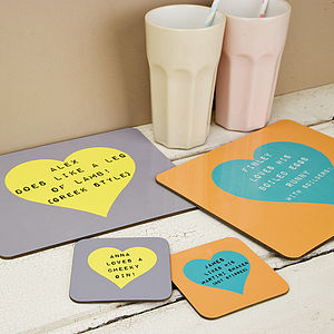 Personalised Heart Coaster - placemats & coasters
