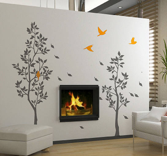 Grey Trees With Falling Leaves Wall Stickers By Zazous