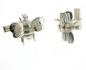 Sterling Silver Bumble Bee Cufflinks - men's jewellery